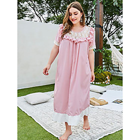 Women's Sheath Dress Maxi long Dress - Short Sleeve Solid Color Lace Summer Plus Size Casual Loose 2020 Blushing Pink XL XXL 3XL 4XL
