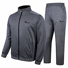 men's warm up athletic track suits full zip sweatsuits jogging sets dark grey size xs