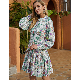 Women's A-Line Dress Short Mini Dress - Long Sleeve Floral Ruffle Print Fall Winter Casual Going out Lantern Sleeve 2020 Green S M L XL