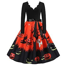 Halloween Women's A-Line Dress Knee Length Dress - Long Sleeve Print Bow Patchwork Print Summer V Neck Elegant Hot Vintage Slim 2020 White Blue Orange S M L XL