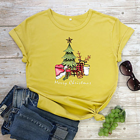 Women's Christmas T-shirt Plants Letter Print Round Neck Tops 100% Cotton Basic Christmas Basic Top Red Yellow Wine