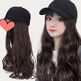 Synthetic Wig Curly Body Wave Asymmetrical Wig Long Light Brown Dark Brown Black Synthetic Hair Women's Fashionable Design Exquisite Black Dark Brown