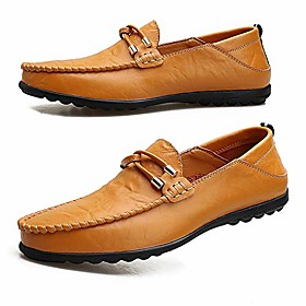 men's leather loafers casual driving boat shoes slip-on classic comfortable dress shoes yellow