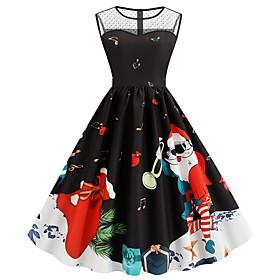 Women's A-Line Dress Knee Length Dress - Sleeveless Print Mesh Patchwork Print Summer Elegant Party Slim 2020 Black S M L XL XXL