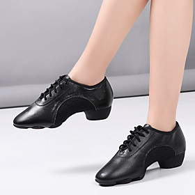 Women's Dance Shoes Latin Shoes / Practice Trainning Dance Shoes Heel Sided Hollow Out Thick Heel Black / Performance