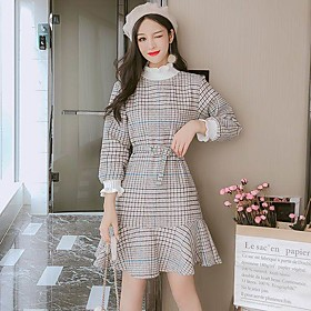 Women's A-Line Dress Short Mini Dress - Long Sleeve Print Print Summer Casual Lantern Sleeve Slim 2020 Camel S M L