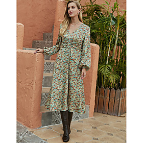 Women's A-Line Dress Midi Dress - Long Sleeve Floral Ruched Print Fall Winter V Neck Casual Going out Lantern Sleeve 2020 Green S M L XL