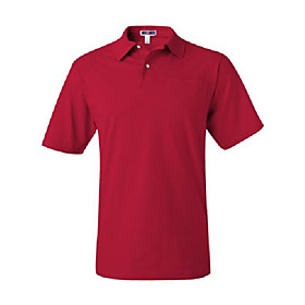 5.6 oz. 50/50 jersey pocket polo with spotshield, red, small