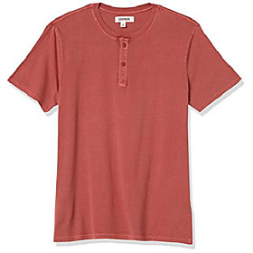 amazon brand - menamp; #39;s vintage washed short-sleeve henley, red, xx-large tall