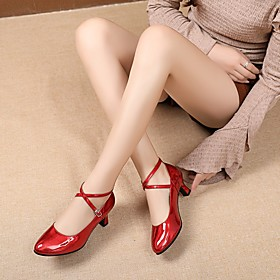 Women's Latin Shoes Heel Thick Heel PU Leather Red / Gold / Silver