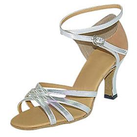 Women's Latin Shoes Heel Flared Heel PU Leather Buckle Silver
