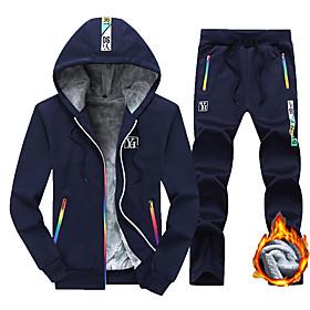 Men's 2-Piece Full Zip Tracksuit Sweatsuit Athleisure Casual Long Sleeve 2pcs Winter Fleece Thermal Warm Breathable Soft Running Jogging Sportswear Plus Size O