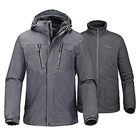men's 3-in-1 ski jacket - winter jacket set with fleece liner jacket amp; hooded waterproof shell - for men (graphite,l)