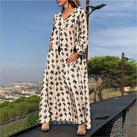 Women's Swing Dress Maxi long Dress - Long Sleeve Print Fall V Neck Casual 2020 Purple Blushing Pink Green Gray Light Blue S M L XL XXL 3XL