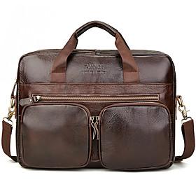 Men's Bags PU Leather Laptop Bag / Briefcase / Top Handle Bag Belt Zipper for Office  Career Brown
