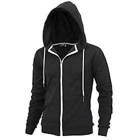 delight men's fashion fit full-zip hoodie with inner cell phone pocket (us small, black)