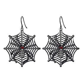 Men's Women's Hoop Earrings Retro Spiders Punk Earrings Jewelry Black For Halloween 2pcs