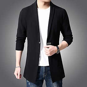 Men's Basic Knitted Solid Color Cardigan Long Sleeve Sweater Cardigans V Neck Spring Fall Black Green Brown