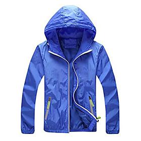 men's hooded windbreaker outdoor uv sun protection jacket blue medium