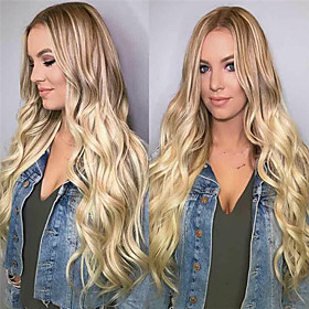 Synthetic Wig Curly Asymmetrical Wig Very Long Blonde Synthetic Hair 26 inch Women's Classic Exquisite Fluffy Blonde
