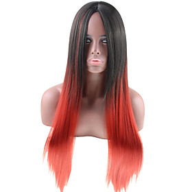 Synthetic Wig Straight Middle Part Wig Long Black / Red Synthetic Hair Women's Color Gradient Middle Part Red Black