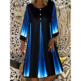 Women's Shift Dress Knee Length Dress - 3/4 Length Sleeve Tie Dye Button Summer Casual Loose 2020 Blue M L XL XXL 3XL