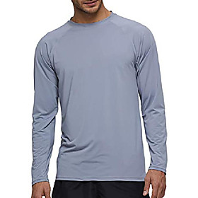 men's vented long sleeve upf 50 sun protection quick dry, gray-m