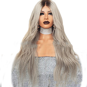 Synthetic Wig Curly Body Wave Middle Part Wig Long Grey Synthetic Hair Women's Color Gradient Middle Part Dark Gray