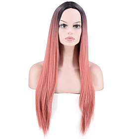 Synthetic Wig Straight kinky Straight Middle Part Wig Long PinkRed Synthetic Hair Women's Easy to Carry Comfortable Color Gradient Pink