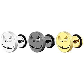 Men's Women's Stud Earrings Hollow Out Face Simple Classic Earrings Jewelry Black / Gold / Silver For Halloween Carnival 2pcs