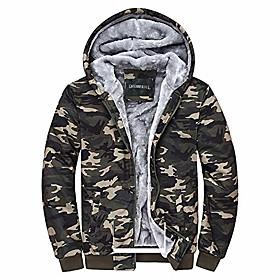 men's camouflage coat cotton casual hooded hoodies fleece cashmere winter jacket (xl)