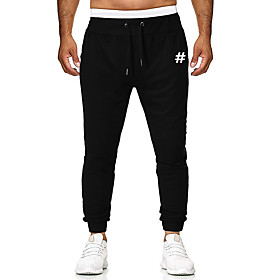 Men's Jogger Pants Drawstring Cotton Letter Printed Sport Athleisure Pants Breathable Soft Comfortable Running Everyday Use Exercising General Use