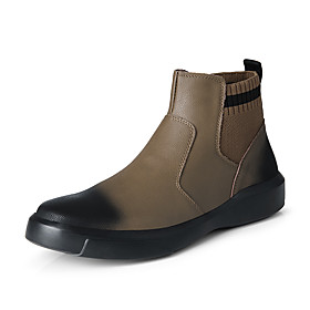 Men's Boots Casual Daily Outdoor Walking Shoes Leather Warm Wear Proof Booties / Ankle Boots Black / Khaki Fall / Winter