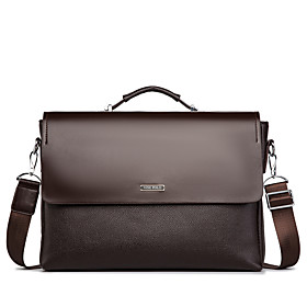 Men's Bags PU Leather Briefcase Zipper for Office  Career Black / Coffee