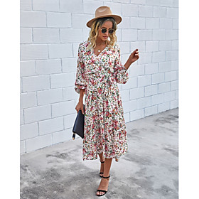 Women's A-Line Dress Midi Dress - Long Sleeve Print Ruched Print Fall V Neck Casual Cotton 2020 White Black Blue Red Wine Brown S M L XL