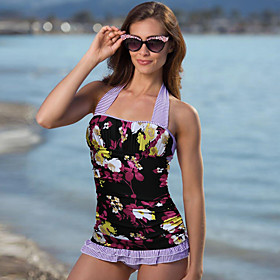 Women's American Style High-Waisted Online Canada Tankini Swimsuit Backless Bow Stripe Floral Print Halter Neck Swimwear Bathing Suits Black Purple Blushing Pi