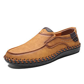 Men's Loafers  Slip-Ons Casual Daily Outdoor Walking Shoes Faux Leather Handmade Wear Proof Light Yellow / Black / Khaki Spring / Fall