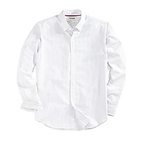 amazon brand - men's standard-fit long-sleeve fashion stripe oxford shirt, grey castlerock, large