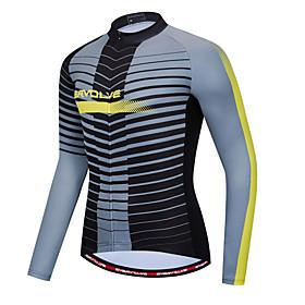 Men's Long Sleeve Cycling Jersey Black Bike Quick Dry Sports Geometic Clothing Apparel / Micro-elastic