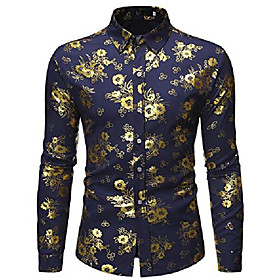 fashion mens folral flowers print shirt luxury gold silver design long sleeve slim fit button down shirts m374-navy-l