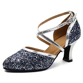 Women's Latin Shoes Heel Thick Heel PU Leather Sequin White / Blue