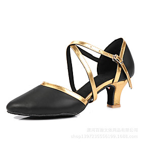 Women's Latin Shoes Heel Thick Heel PU Leather Black / Gold / Black / Silver / Black / Red