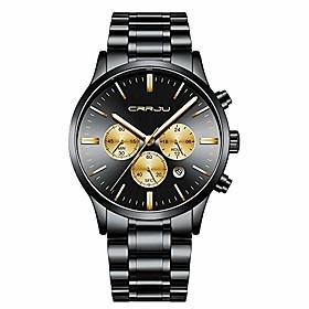 men's multifunctional chronograph wristwatches,stainsteel steel band waterproof watch (black yellow)