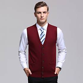 Men's Basic Knitted Solid Color Vest Sleeveless Sweater Cardigans V Neck Fall Winter Red Light gray Dark Gray