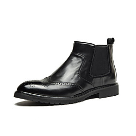 Men's Boots Casual Daily PU Breathable Booties / Ankle Boots Black / Brown Fall