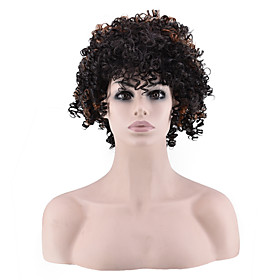 Synthetic Wig Curly Afro Layered Haircut Wig Short Brown Synthetic Hair Women's Classic Exquisite Fluffy Brown