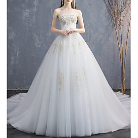 Ball Gown Wedding Dresses Strapless Chapel Train Lace Tulle Sleeveless Formal Elegant with Beading Appliques 2020