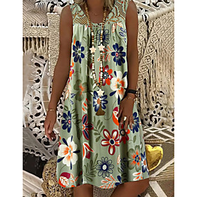 Women's Shift Dress Knee Length Dress - Sleeveless Floral Lace Print Summer Plus Size Hot Mumu Beach vacation dresses 2020 White Black Army Green Fuchsia Navy
