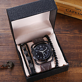 Men's Sport Watch Quartz Classic Chronograph Analog Black Brown / Two Years / PU Leather / Large Dial / Two Years