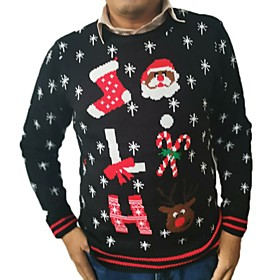 Men's Christmas Geometric Pullover Acrylic Fibers Long Sleeve Sweater Cardigans Crew Neck Winter Black